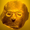Gold burial mask displayed at the Gold Museum in Bogata.