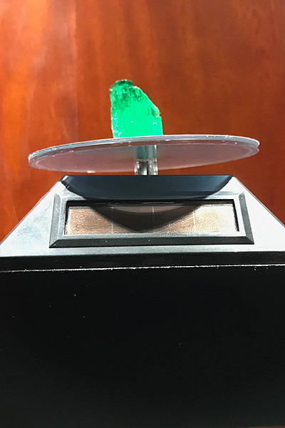 A large, clear emerald worth more than $30,000.