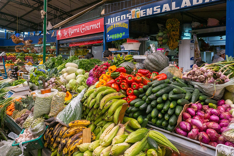 Fruits and vegetables stands in the market in Bogata.