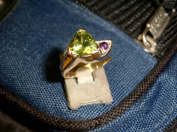 Another view of the Amethyst and Peridot ring.
