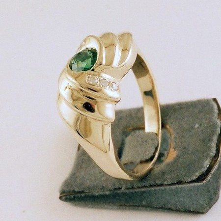 ...another view of 14 Karat, diamond and Tsavorite Garnet ring.<br /> <br /> The green in Tsavorite Garnet come from the high content of chrome in the composition of the garnet...<br /> <br /> Garnet is my birthstone as well....
