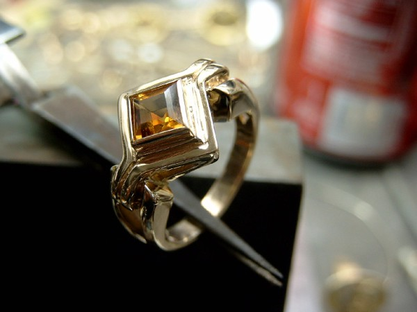 Light Citrine. These two rings were made for the same family for two of their daughters.