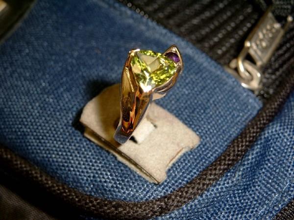 Peridot and Amethyst ring.