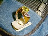 An Amethyst and Peridot ring. The mounting was created using the Lost Wax Casting method.