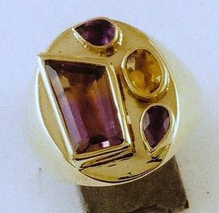Ametrine, Amethyst an citrine ring.