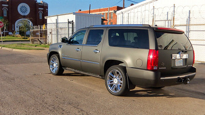 """Skinzwraps Matte Black on a Cadillac Escalade in Dallas, TX  www.skinzwraps.com"""
