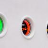 windows, neon, Lacoste, white wall, portholes, round windows