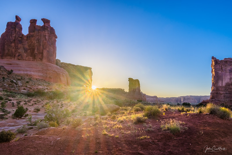 Sunset in Arches National Park along the Park Avenue Trail