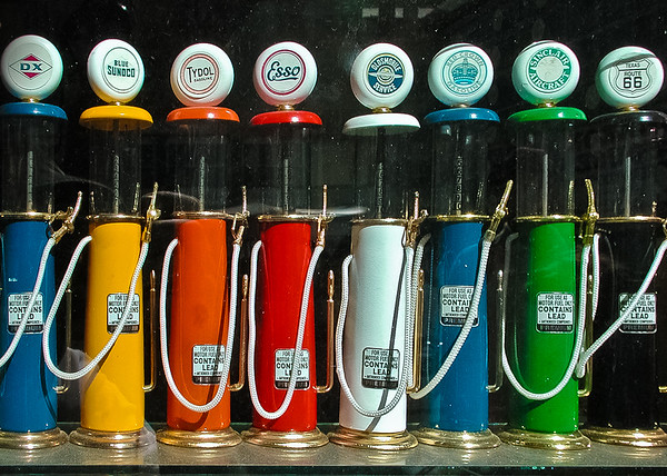 Tiny Model Gas Pumps in Store Window