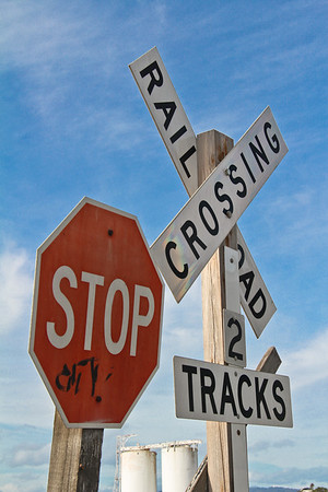 Railroad Crossing, 2 Tracks and Stop Sign