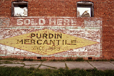 West side of the Purdin Mercantile building;  Purdin, Missouri.