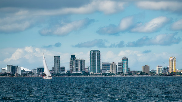 Bay view of downtown St Petersburg, FL