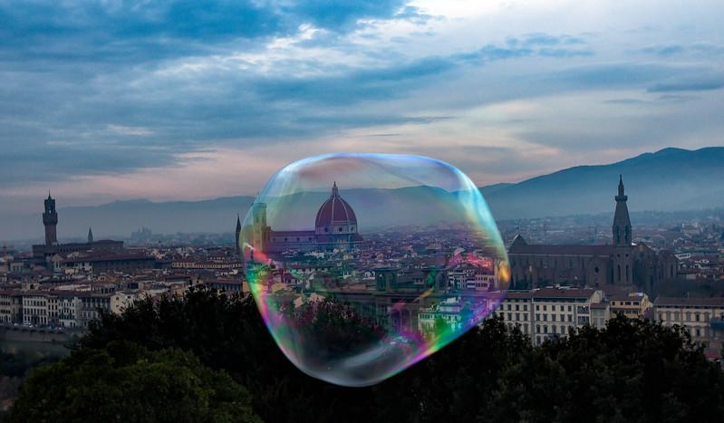 Bubble across Duomo, Florence, Italy
