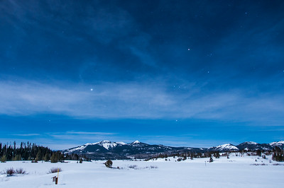 Night Snowscape, Steamboat Lake with Sand Mountain