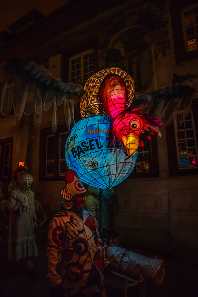 Basel Fastnacht World. Lantern parading the old streets of Basel for the Morgenstreicht, the early morning start of the Carnival.
