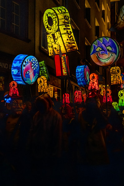 Marching Lanterns. Morgestraich parade, early hours of the best day of the year, Fastnacht in Basel, Switzerland.