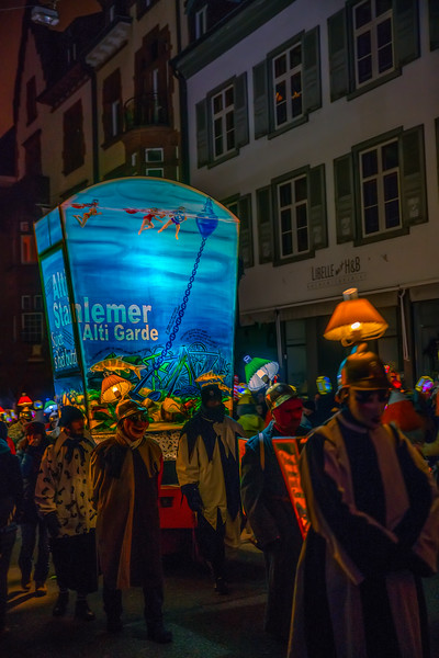 Walking lanterns. Morgenstreicht parade in Basel, starting the celebrations of the Fastnacht, early monday morning, a tradition older than 500 years.