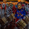 Drumming lights. FIrst light of monday mording during the Morgestraich parade, Basel Carnival in Switzerland.