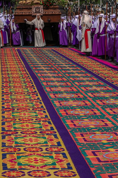 Alfombra La Merced. Traditional sawdust carpet and procession, celebrating the Holy Week in Antigua Guatemala, UNESCO World Heritage.