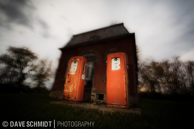 20111019_gas-2584  Taken near St. Albans, VT on a backroads excursion.  This old gas station just begged for its picture to be taken.  As it was October, it had to spooky.  Handheld, long shutter, manually triggered flash.
