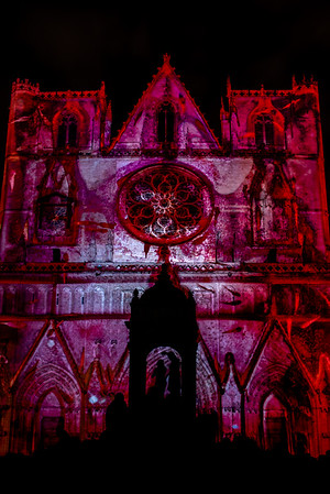 Gothic LIghtning. Cathédrale Saint-Jean Baptiste à Lyon, France, lighted as part of the Fete des Lumières, celebrating the Virgin Mary.