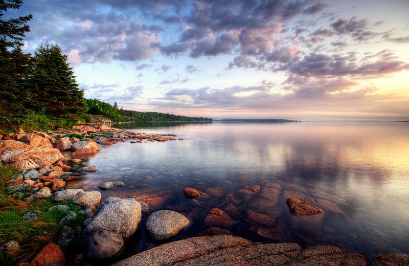 Sun rises on the coast of Brooklin, Maine