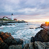 Sun and surf at the Portland Head Lighthouse in Cape Elizabeth, Maine