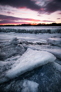 Ice Flows at low tide in the Scarborough Marsh, Scarborough Maine.