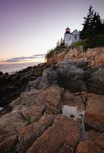 Sunset at Bass Harbor Head Lighthouse, Acadia National Park, Maine