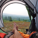 relaxing in the tent at Kluane