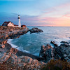 Classic Shot at Dawn of the Portland Head Lighthouse in Cape Elizabeth, Maine