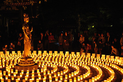Kannon (the bodhisattva of compassion) faces the faithful and other visitors. Each lantern represents a donation to the victims and survivors of the disaster.