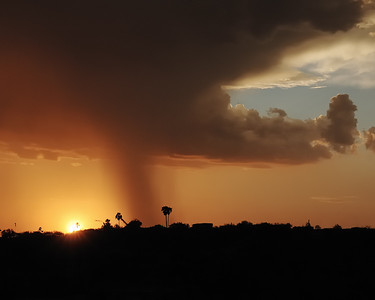 """An evening shower in Tucson. I once told a Japanese friend that one can """"smell"""" rain in the desert, but he scoffed at the idea. In that moment, I realized how hard it is to convey experiences unique to a place and time to those who do not have a similar background. In the dry climate of the desert, we do become quite sensitive to the """"scent"""" of humidity the precedes a rain fall.    For Tucson, this is a """"monsoon"""" rain."""