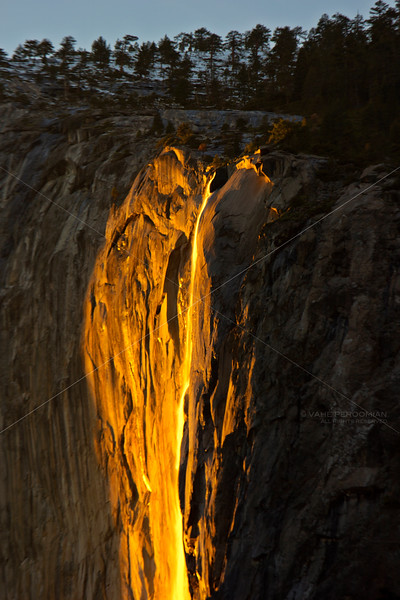 The Orange Glow of Horsetail Falls