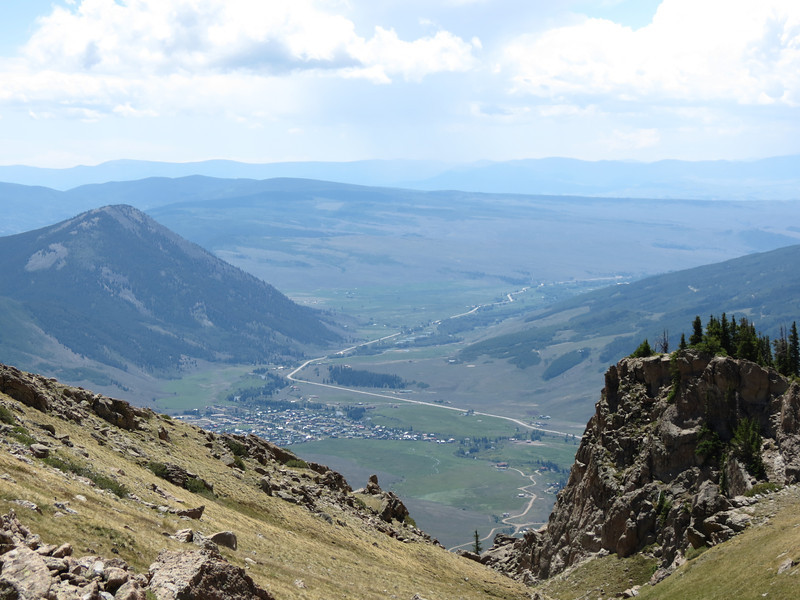 The town of Crested Butte from the top of the mountain.