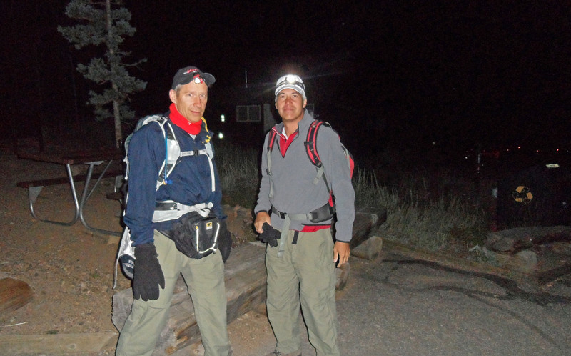 Dan and hiking partner Keith Brown, Long's Peak trail head. 4:00 a.m. (Image courtesy of  Kurt Hansen)