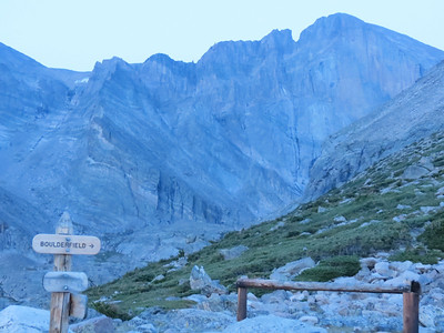Chasm Lake Trail and Long's Peak Trail junction. Just before sunrise, heading towards the boulder field.