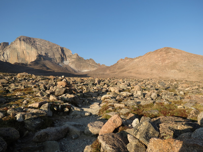 Looking across the boulder field. Long's to the left. Storm Peak on the right