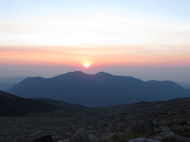 Sunrise over Twin Sisters mountain
