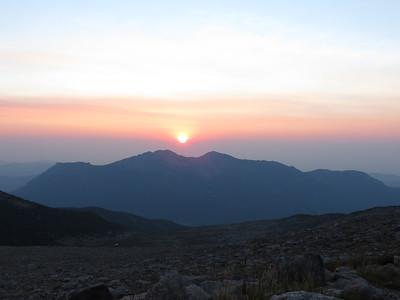 Sunrise over Twin Sisters mountain