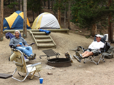Relaxing after setting up camp