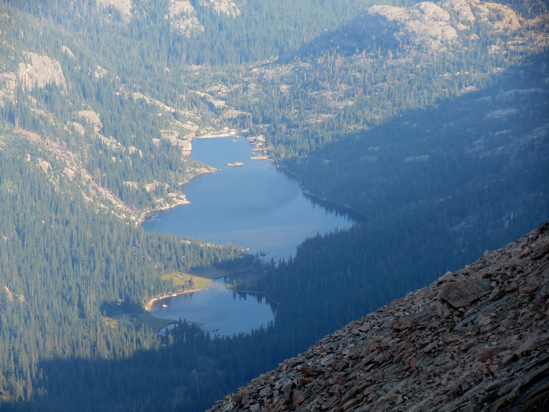 Jewel Lake and Mills Lake, Glacier Gorge, from the Keyhole Route