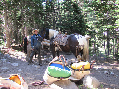 Cody from Sombrero Ranches (www.sombrero.com) and his pack horses. Packing up gear for customers that paid to have their gear packed in and out for a comping trip.