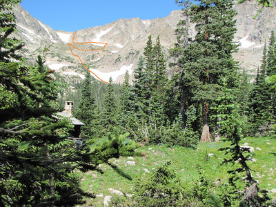 This is roughly the route that Kurt and Dan traveled from Thunder Lake to reach the Boulder-Grand pass. Then came the hard part! Getting through the forest and finding a good trail on the West side.