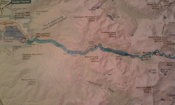 """Dan & Kurts path - Part 2. This was the hard part. They had to """"bush wack"""" from the top of the pass down to 4th Lake. Then find their way around the lake because it was an """"unimproved trail"""". Then they ran out of water somewhere past Lone Pine Lake. It was somewhere around 18 miles total."""
