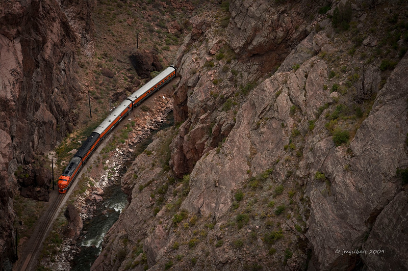 Royal Gorge Railroad.  This shot was taken while leaning over the Royal Gorge Suspended Bridge, 1,100 feet above.