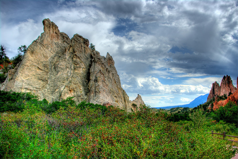 Garden of The GODS, Colorado.  HDR using three shot exposure, Pentas K-20, 21mm lens, 1/200, f/4, ISO 100.