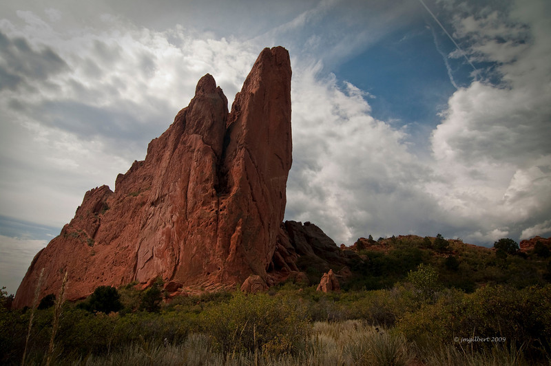 One of many red rock formations in Garden of The GODS.: Bracketed 3 shots at 2 f/stop intervals and then processed in Photomatrix (HDR Process)