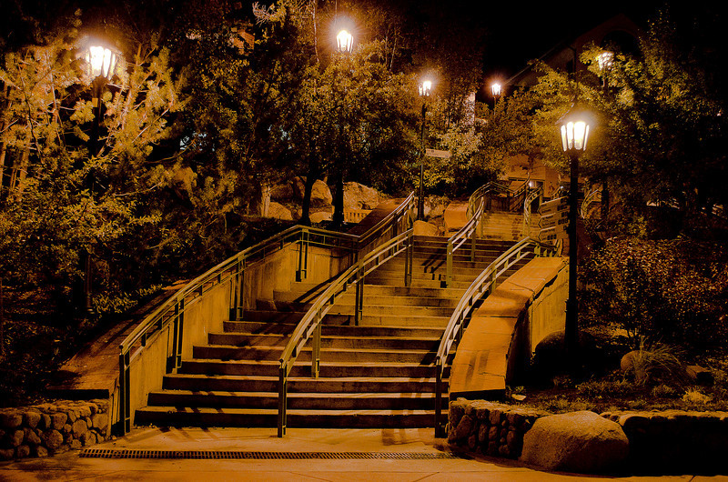 Stairs in Aspen village at night.