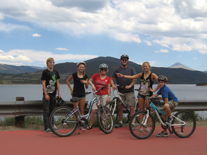 Spencer, Carly, Cheri, me, Megan, and Drake, about halfway around the lake.